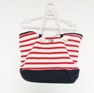 Tommy Hilfiger| Red & White Stripe Beach Tote NWOT